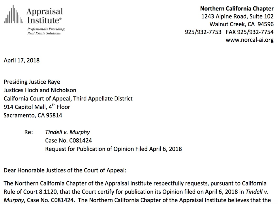 Newly Published California Case Helpful To Appraisers Tindell V